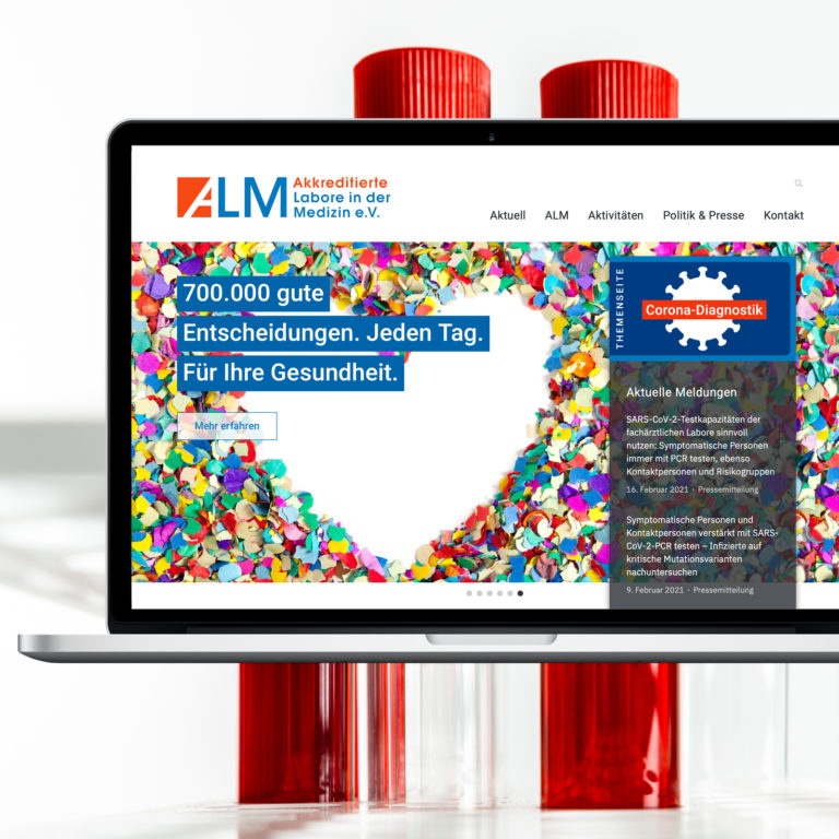 Akkreditierten Labore in der Medizin – ALM e.V. Website Referenzbeitrag der Agentur RIGHT Marketing Berlin.